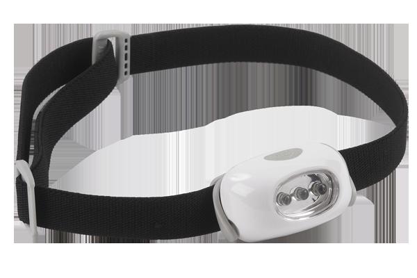 Lampe 25 lumens 3 leds blanches autonomie de 15h distance d clairage 20m fonctionne avec 2 - Lampe frontale intersport ...