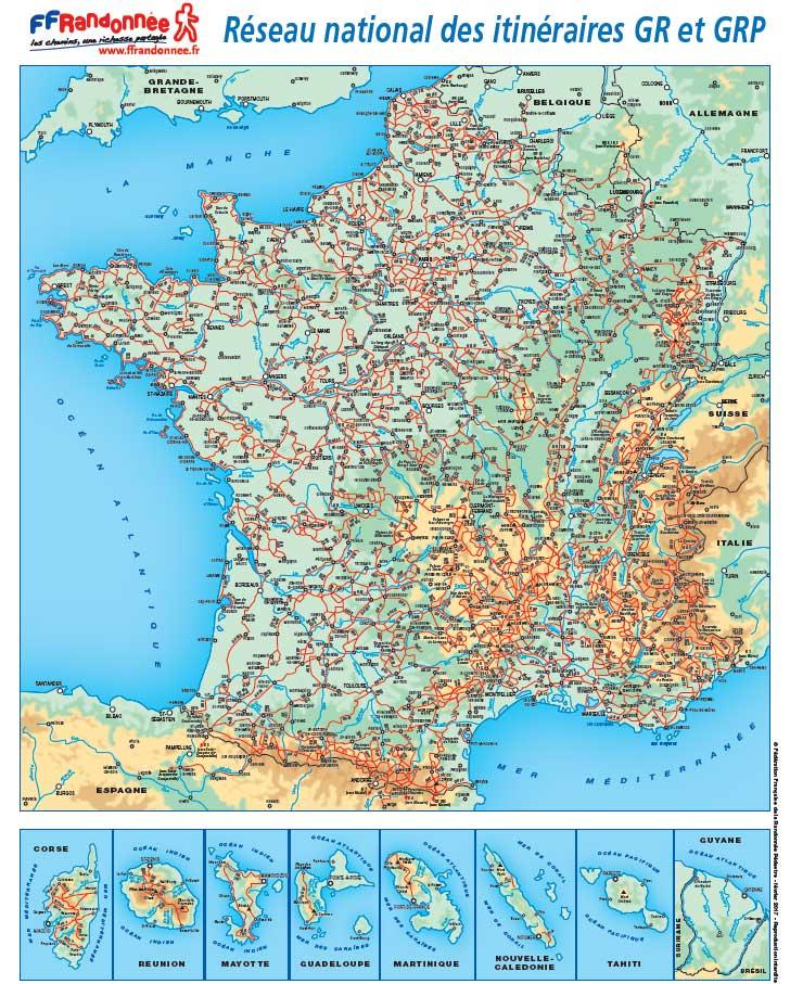 carte des sentiers GR FFRandonnée 2017